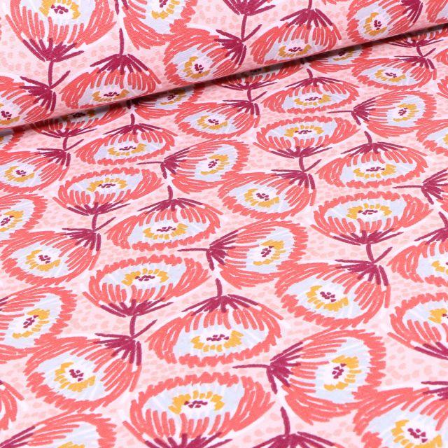 Tissu Toile de Coton Tesaya sur fond Rose