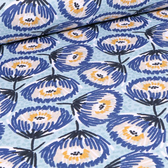 Tissu Toile de Coton Tesaya sur fond Bleu