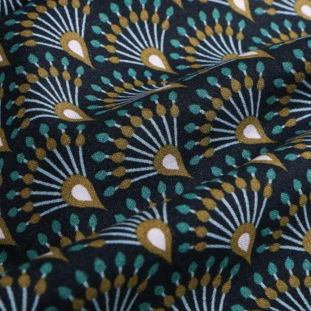 Tissu Viscose  Arty Plumes de paon sur fond Bleu marine - Par 10 cm