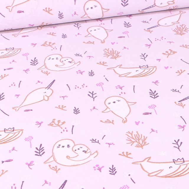 Tissu Coton imprimé Arty Walina sur fond Parme