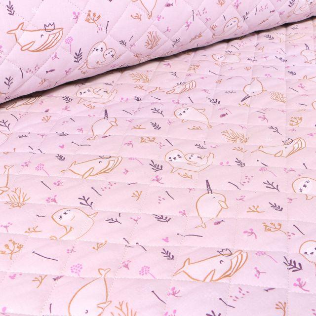 Tissu Matelassé Baleines et otaries sur fond Rose pâle