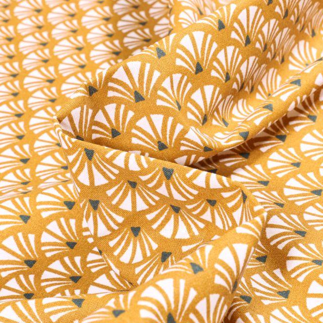 Tissu Coton imprimé Arty Yazo sur fond Jaune