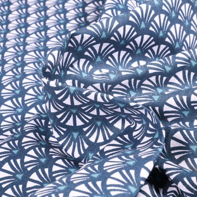 Tissu Coton imprimé Arty Yazo sur fond Bleu denim
