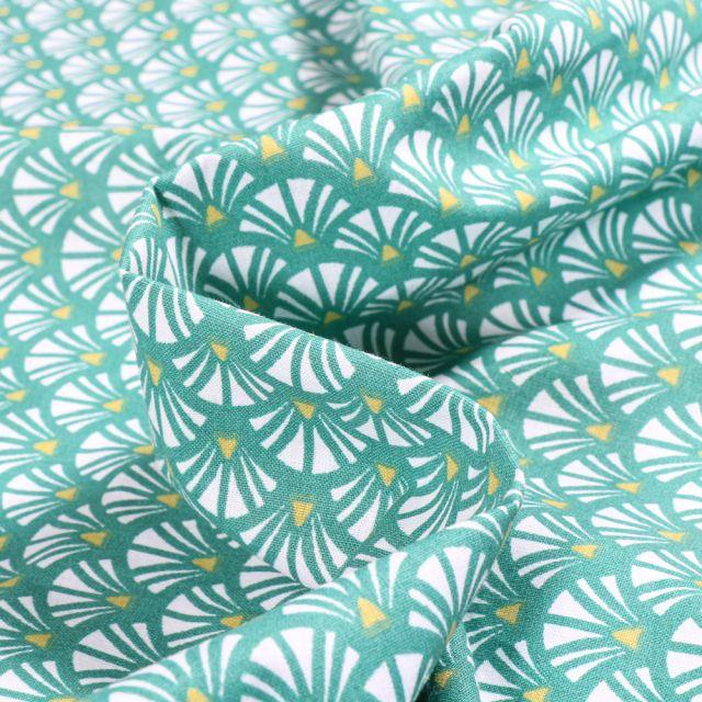 Tissu Coton imprimé Arty Yazo sur fond Vert émeraude
