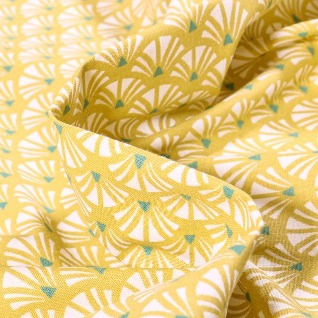Tissu Coton imprimé Arty Yazo sur fond Jaune vif