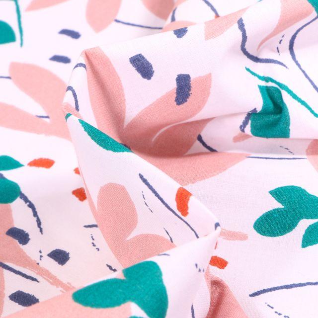 Tissu Coton imprimé Arty Ydori rose et vert sur fond Blanc