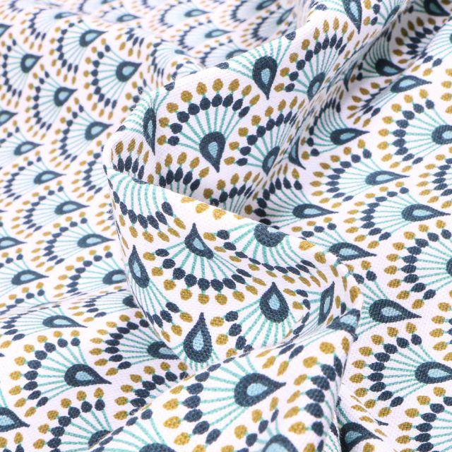 Tissu Toile de Coton Zadani sur fond Bleu