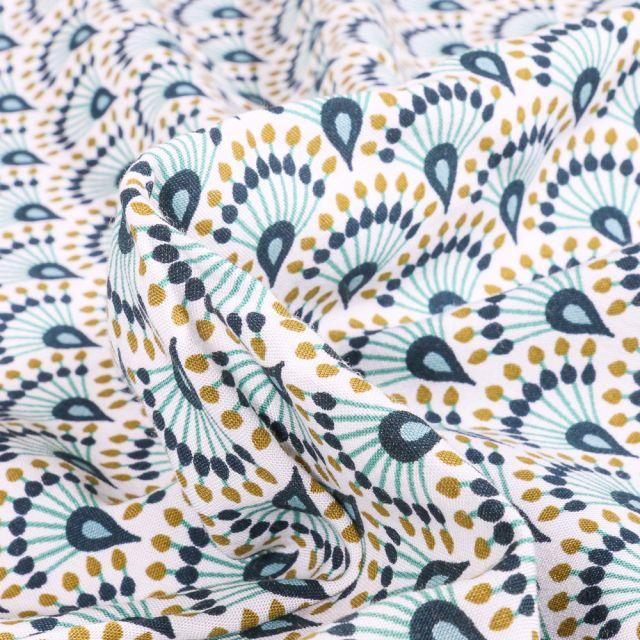 Tissu Viscose Arty Zadani sur fond Bleu