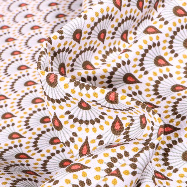 Tissu Toile de Coton Zadani sur fond Jaune