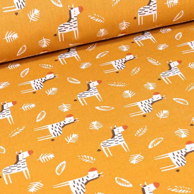 Tissu Coton imprimé Arty Zoubro sur fond Jaune