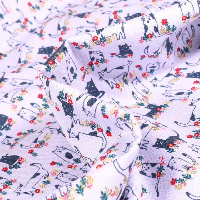 Tissu Coton imprimé QT Fabrics Chats et fleurs sur fond Blanc