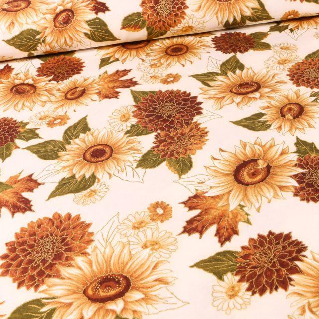 Tissu Robert Kaufman Autumn Bouquet Tournesol sur fond Beige