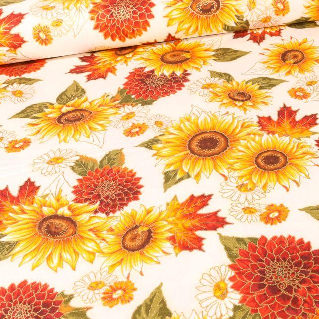 Tissu Robert Kaufman Autumn Sunflower sur fond Blanc cassé