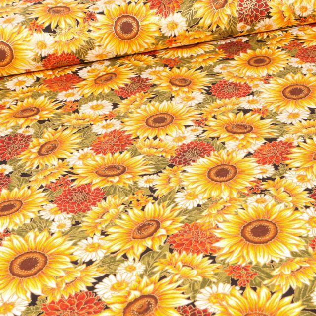 Tissu  Robert Kaufman Autumn Bouquet sur fond Jaune