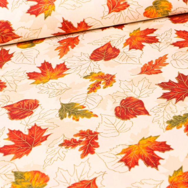 Tissu  Robert Kaufman Autumn Natural sur fond Ecru