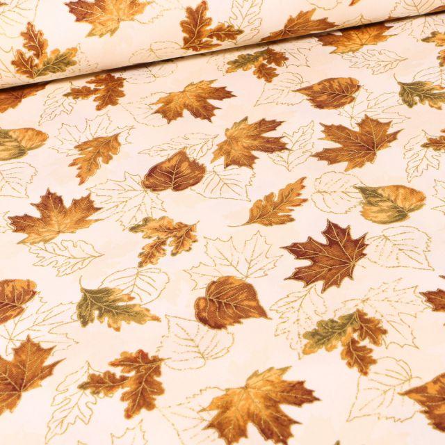 Tissu  Robert Kaufman Autumn  Bouquet Natural sur fond Ecru