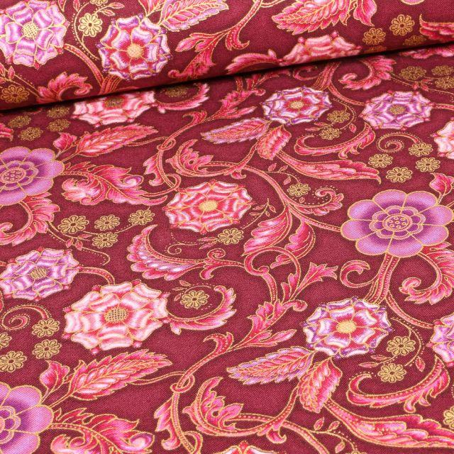 Tissu  Robert Kaufman Persis Claret Arabesque sur fond Rouge