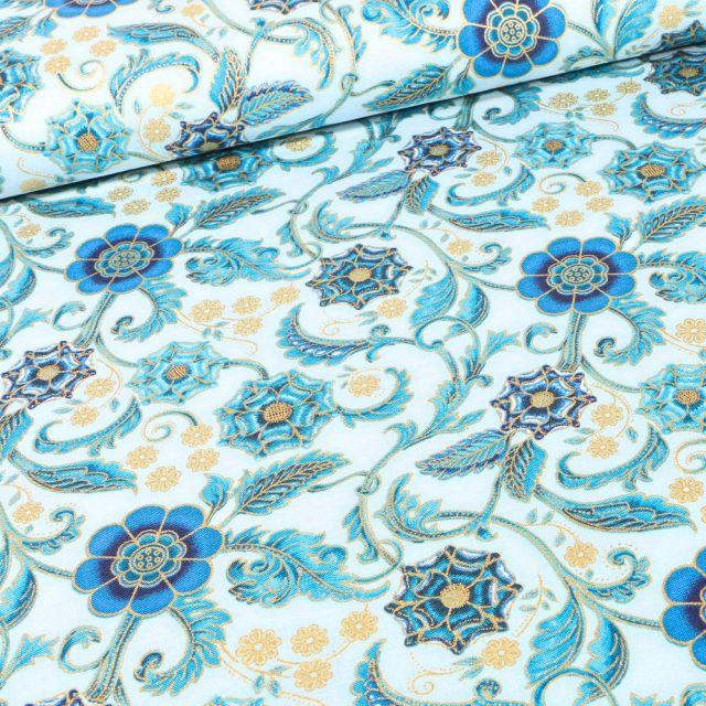 Tissu  Robert Kaufman Persis  Blue Arabesque sur fond Bleu ciel