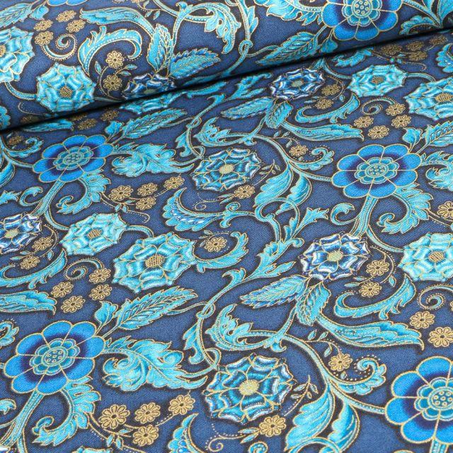 Tissu  Robert Kaufman Persis Teal Blue Arabesque sur fond Bleu marine