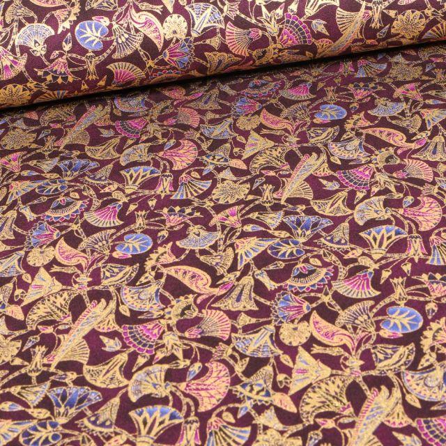 Tissu  Robert Kaufman Persis Wineberry végétal sur fond Violet foncé