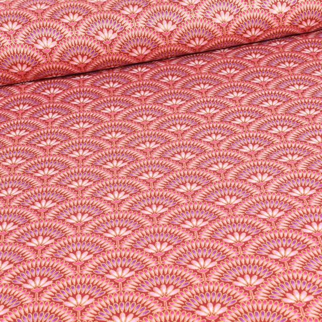 Tissu Robert Kaufman Persis Claret éventails sur fond Rouge