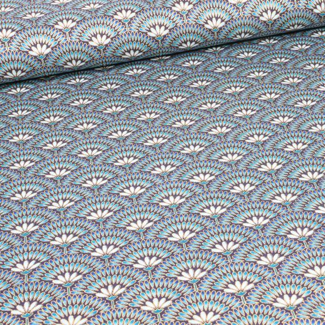 Tissu Robert Kaufman Persis Peacock éventails sur fond Bleu acier