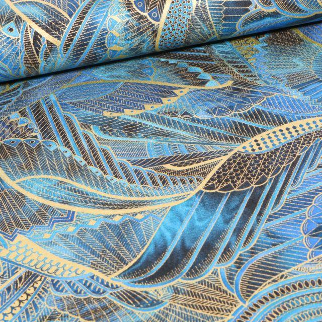 Tissu  Robert Kaufman Persis Peacock ailes sur fond Bleu