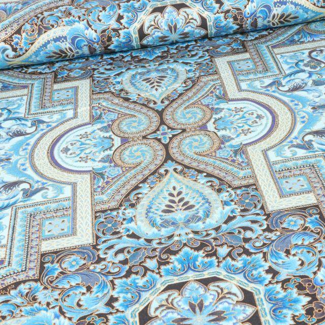 Tissu Robert Kaufman Persis Blue sur fond Bleu