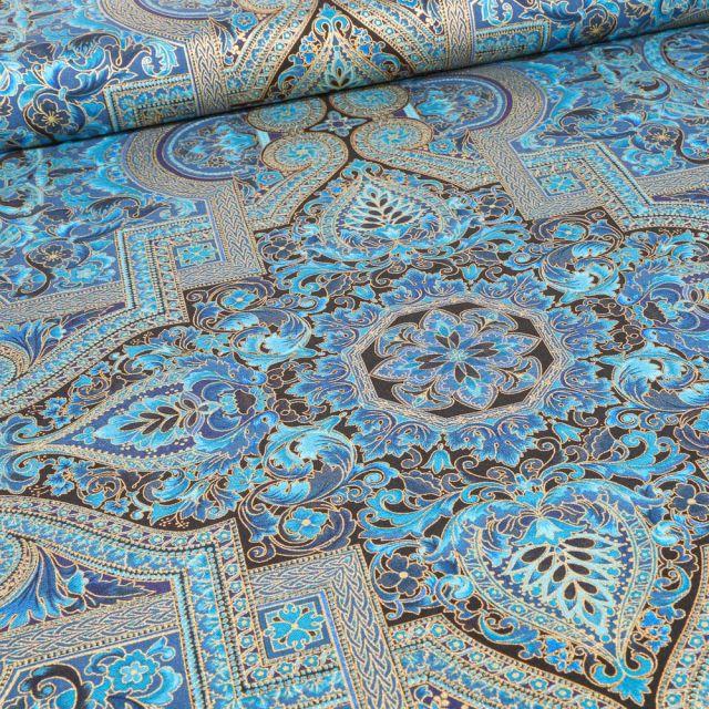 Tissu Robert Kaufman Persis Teal Blue sur fond Bleu turquoise