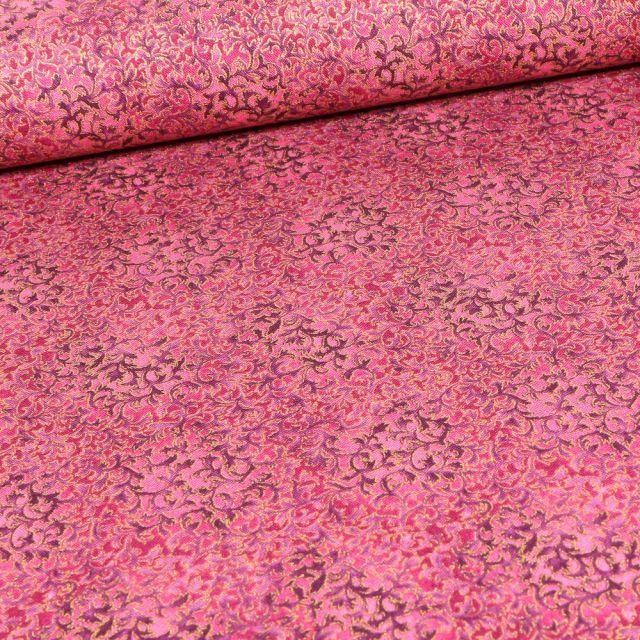 Tissu Robert Kaufman Persis Claret fleurs sur fond Vieux rose