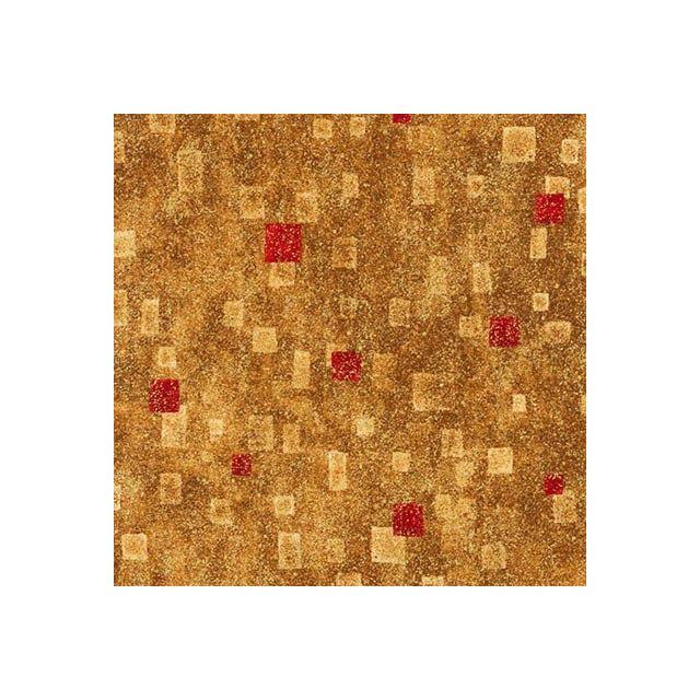 Tissu Coton Robert Kaufman Gustav Klimt rectangle rouge sur fond Or - Par 10 cm