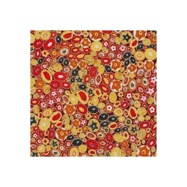 Tissu Robert Kaufman Gustav Klimt galets fleuris sur fond Rouge - Par 10 cm