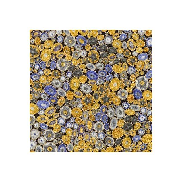 Tissu Coton Robert Kaufman Gustav Klimt galets fleuris sur fond Bleu marine - Par 10 cm