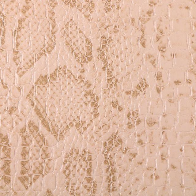 Tissu Simili cuir Croco snake Camel - Par 10 cm