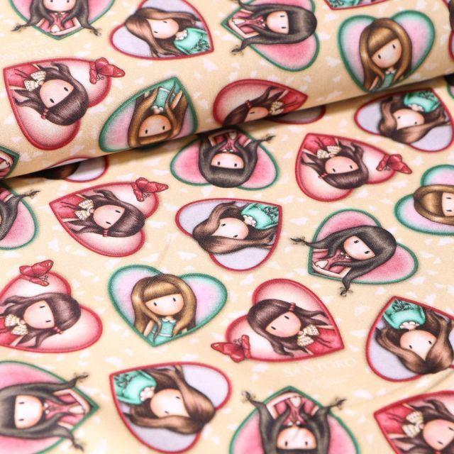 Tissu Coton Santoro London Gorjuss Heart sur fond Beige - Par 10 cm