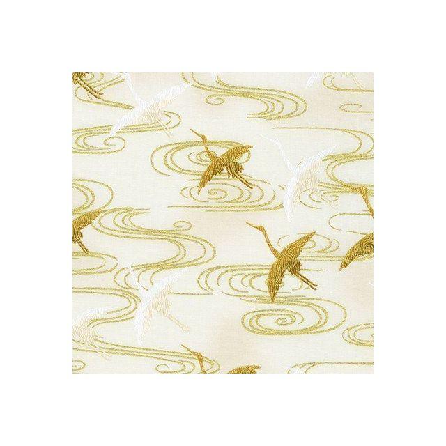 Tissu Coton Robert Kaufman Imperial collection Cigognes or sur fond Blanc cassé - Par 10 cm
