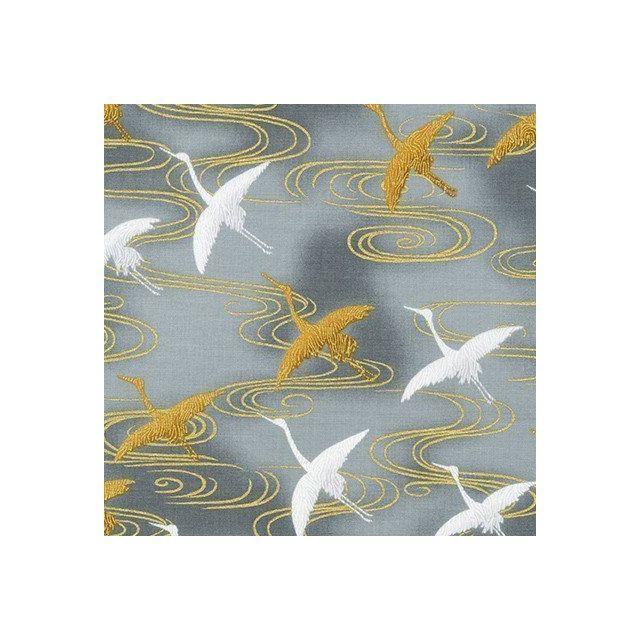 Tissu Coton Robert Kaufman Imperial collection Cigognes or et blanches sur fond Gris - Par 10 cm