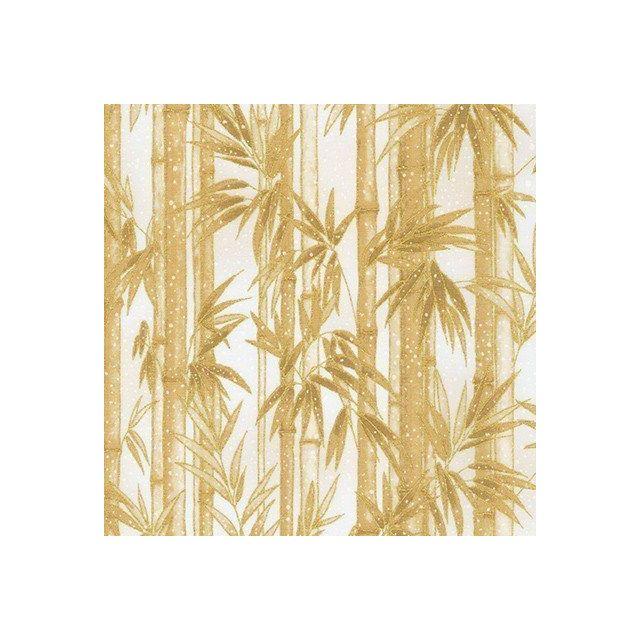 Tissu Coton Robert Kaufman Imperial collection Bambou sur fond Blanc cassé - Par 10 cm