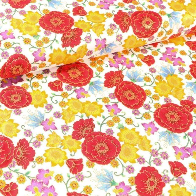 Tissu Coton QT Fabrics Florentine garden fleurs rouges et jaunes sur fond Blanc - Par 10 cm