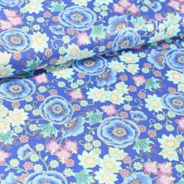 Tissu Coton QT Fabrics Florentine garden fleurs or et rose sur fond Bleu - Par 10 cm