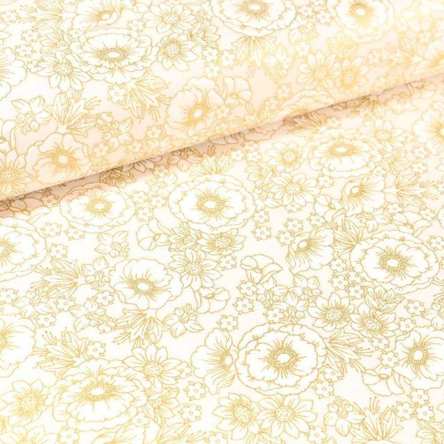 Tissu Coton QT Fabrics Florentine garden coquelicots or sur fond Blanc cassé - Par 10 cm