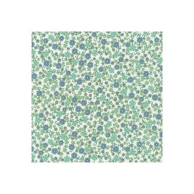 Tissu Coton QT Fabrics Florentine garden petites fleurs bleues et vertes sur fond Blanc cassé - Par 10 cm