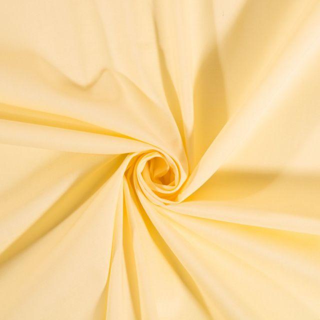 Tissu Coton uni Jaune paille - Par 10 cm