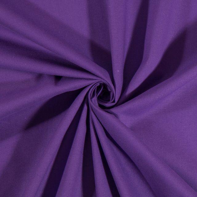 Tissu Coton uni Violet - Par 10 cm