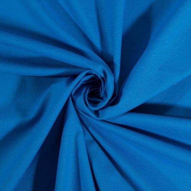 Tissu Coton uni Bleu galois - Par 10 cm