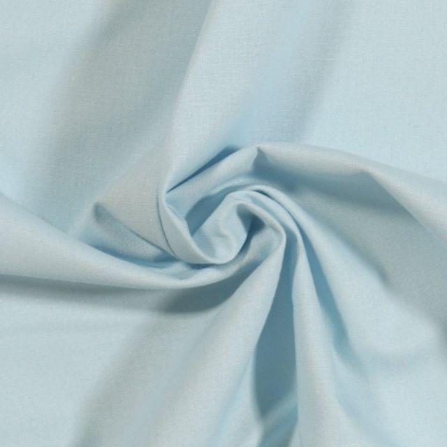 Tissu Coton uni Bleu layette - Par 10cm