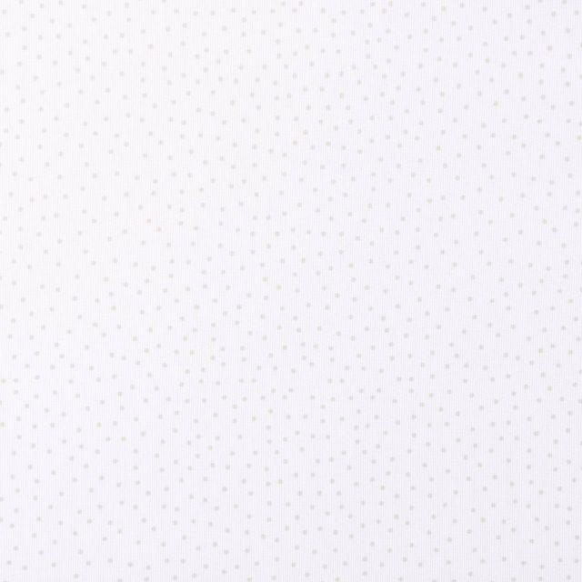 Tissu Piqué de Coton Pois beiges sur fond Blanc - Par 10 cm