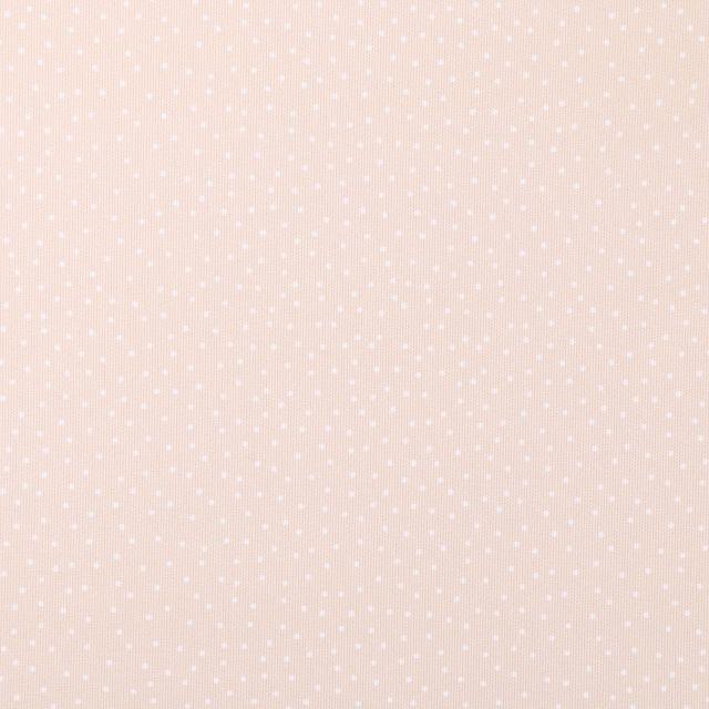Tissu Piqué de Coton Pois blancs sur fond Beige - Par 10 cm