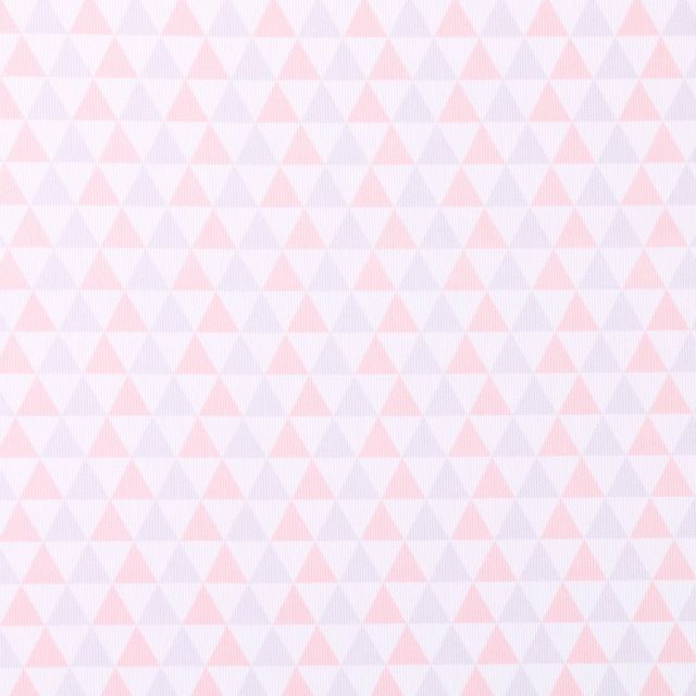Tissu Piqué de Coton Triangles gris et roses sur fond Blanc - Par 10 cm