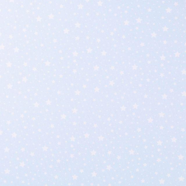 Tissu Piqué de Coton Etoiles blanches sur fond Bleu ciel - Par 10 cm